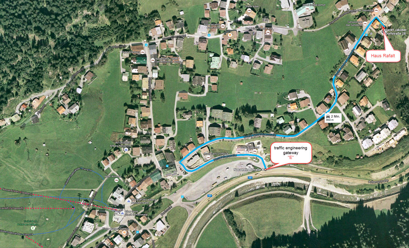 Map and getting there - Haus Rafalt in St. Anton